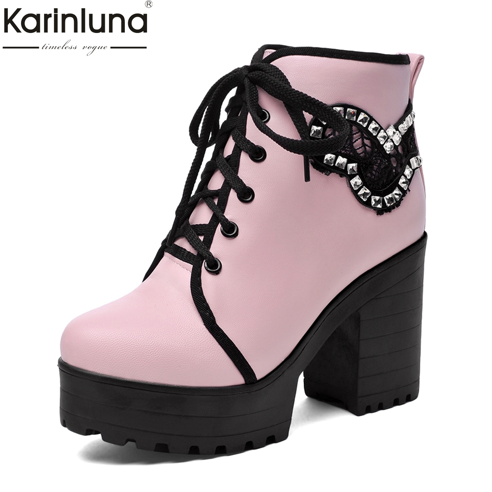 KarinLuna 2018 Large Size 33-43 crystals motorcycles boots Platform Women Shoes Woman square High Heels women Ankle Boots цена