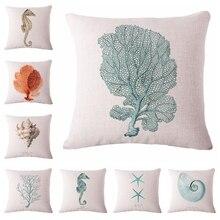 Watercolor Sea World Cushion Cover Print Linen Affection Sofa Seat Family Home Decorative Throw Pillow  Case Housse De Coussin
