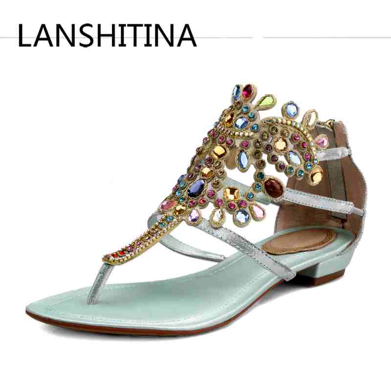 High quality Genuine Leather women sandals Rhinestone Retro style Cover Heel Gladiator shoes Crystal Bohemia beach summer shoes 2015 new deluxe brand 100% high quality flat summer women knee high gladiator sandals genuine leather cut outs cover heel shoes