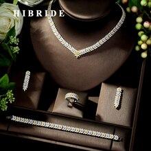 HIBRIDE Fashion Bridal Jewelry Sets Leaf Design Wedding Jewelry Party Accessories Bijoux Femme Set Jewelry With Zircon N-233