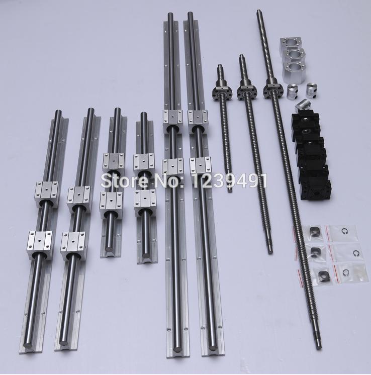 6 set linear rail SBR20- 300/900/1100mm+ 3 set ballscrews RM1605- 350/950/1150mm+3 BK12/BF12+3 nut housing+3pcs Coupling for CNC 3 linear rails hb20 350 900 1150mm ballscrews rm1605 350 950 1200 1200mm 4 bkbf12 fkff12 4 coupler 4 nut housing