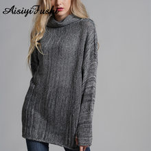 4c25cae0cd8 Women s Turtleneck Sweater For Women Knitted Oversized Sweater Female  Winter Jumper Warm Vintage Baggy Long Sweater Dress