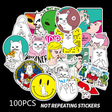 50pcs Middle Finger Cute Cat Car Styling Funny Cool Bomb Waterproof Sticker for Skateboard Fashion Bumper