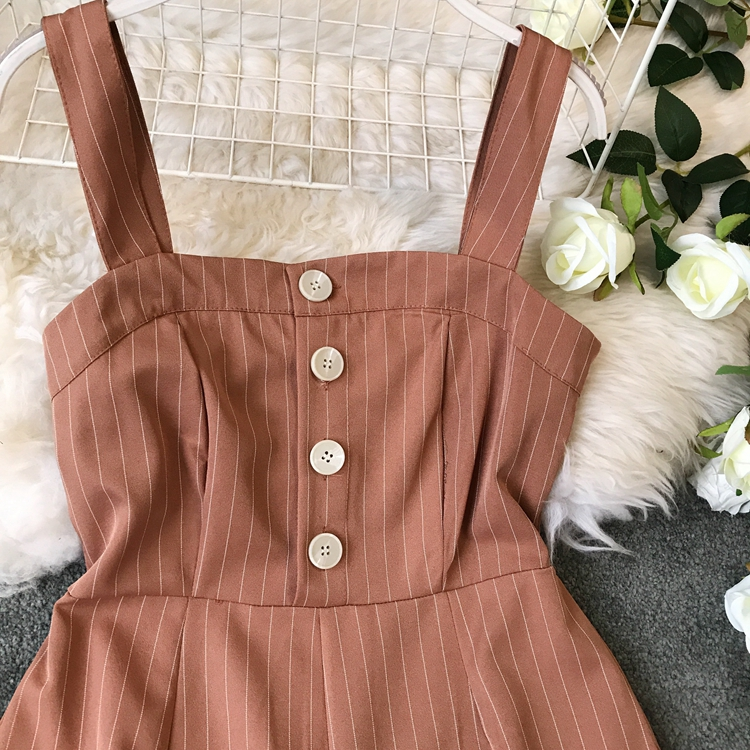 2019 Spring and Summer Korean New Stripe High Waist Open-back Jumpsuit Women Sleeveless Broad-legged Overalls G794 20