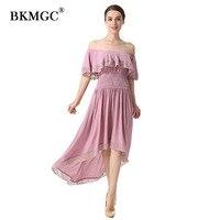 שמלת תחרה אופנה בסגנון אנגליה סלאש צוואר פרפר שרוולי שמלות קיץ ארוכות זול הולם מקרית אמצע עגל סקסי תחרה שמלת