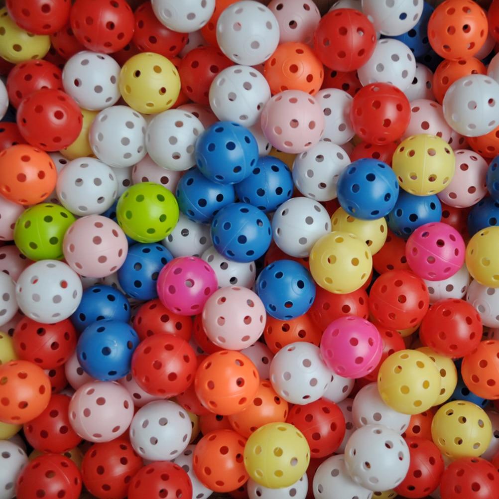 20Pcs Random Colors New Plastic Golf Balls Whiffle Airflow Hollow Golf Practice Training Sports Balls