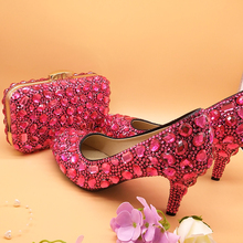 Woman Wedding shoes with matching bags fuschia Crystal Ladies Luxury Wedding shoes Bride High heel Platform shoes and bags