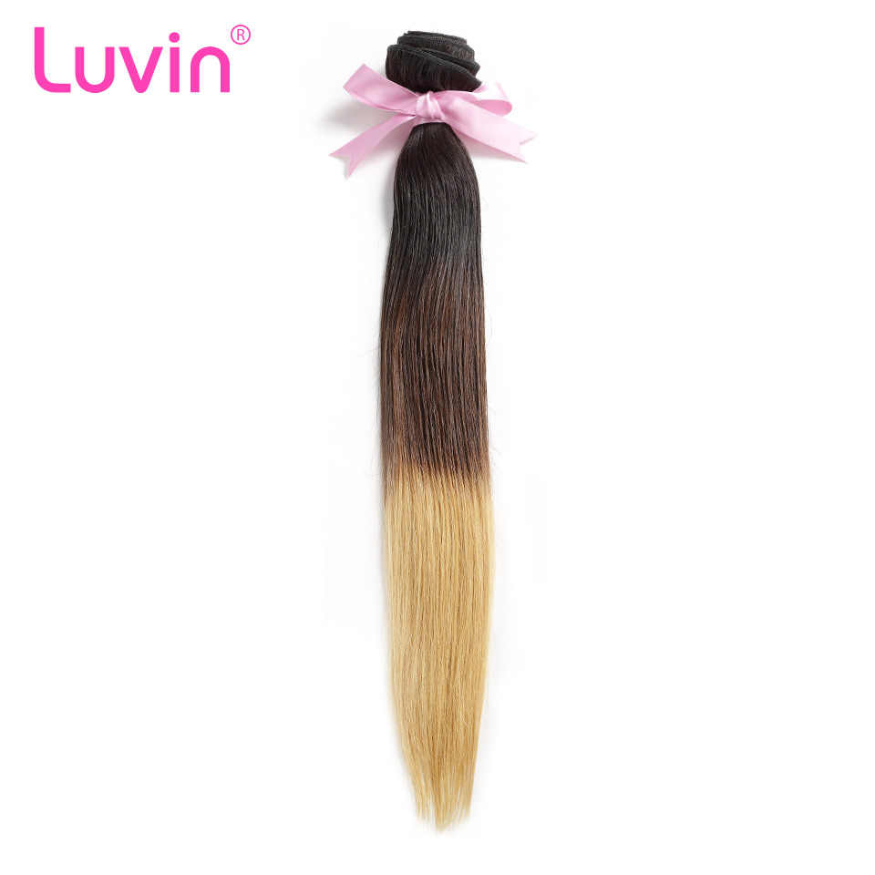 Luvin Ombre Brazilian Hair Straight 100% Remy Human Hair Weave Bundles Color T#1B/#4/#27 Free Shipping