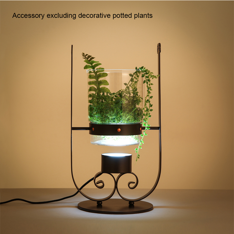American Countryside Iron Glass Desk Lamp Bonsai Table