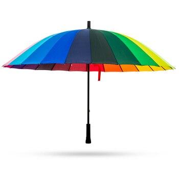 24K Rainbow Big Umbrella Windproof Men's Leather Long Handle Warrior Umbrella Female Sunny And Rainy Umbrella with Shoulder Bag 1