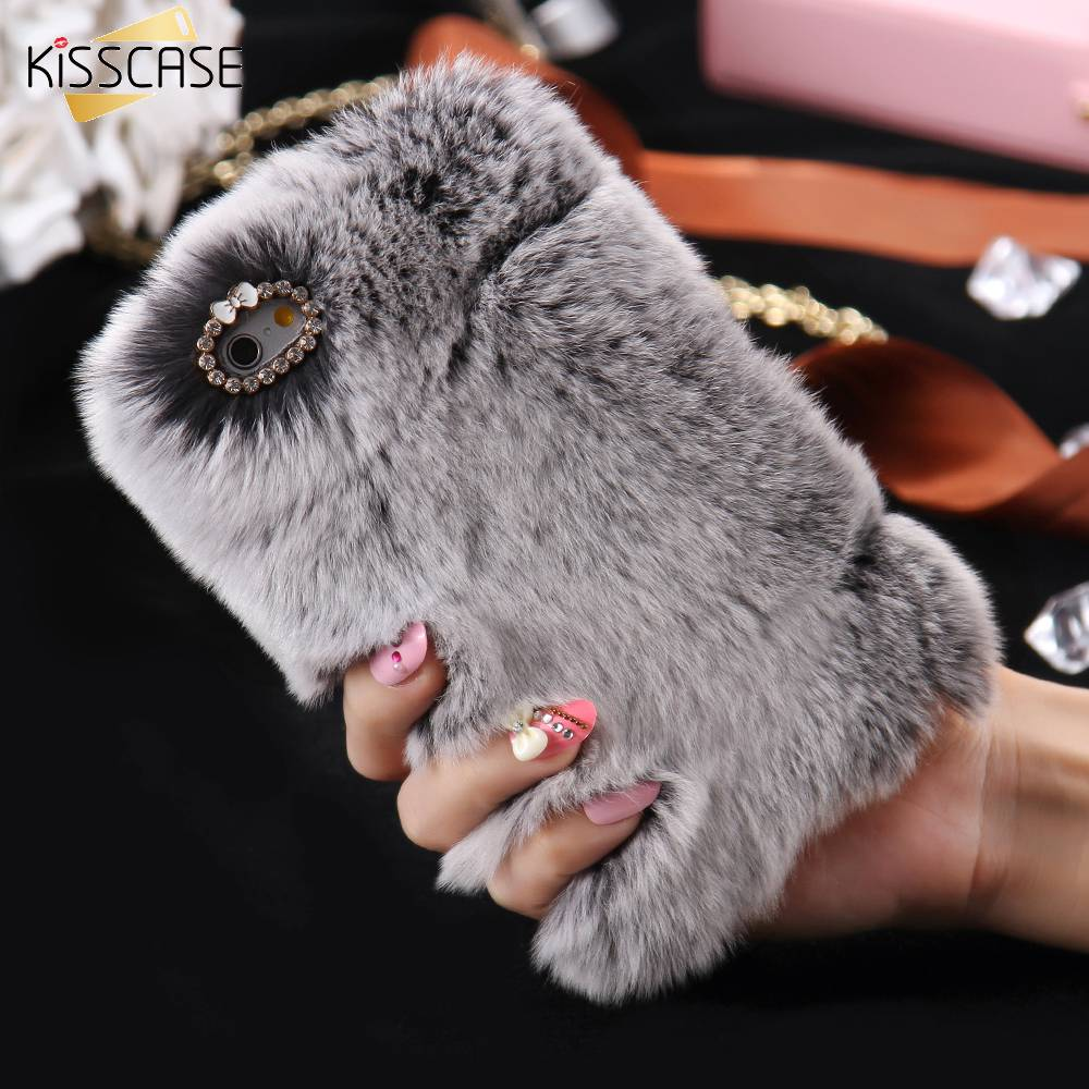 sports shoes a5ee7 5605e US $4.74 5% OFF|KISSCASE Luxury Rabbit Fur Case for iPhone 6 6s Case 7 8  Plus Case For iPhone X 5s SE Cover Furry Shell Smooth Rhinestone Plush -in  ...