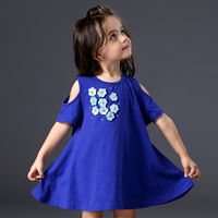 Brand Fashion Flower Girl Dress Cotton Cute Blue Dress 2017 Summer Princess Wedding Party Dresses Floral Appliques 2 3 4 5 Years