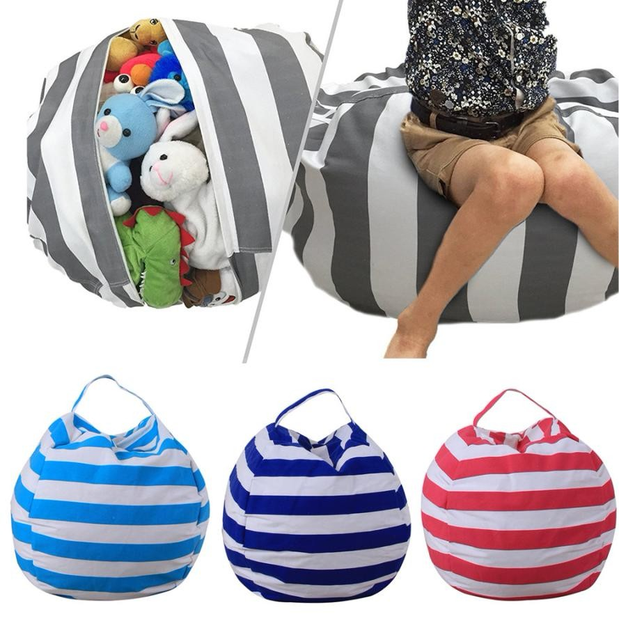 kids stuffed animal plush toy storage bean bag soft pouch stripe fabric chair opbergtas voor. Black Bedroom Furniture Sets. Home Design Ideas