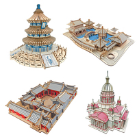 3D Puzzle Earth World S Famous Building Aircraft Model With Miniature 3D Wood Puzzle Model Building