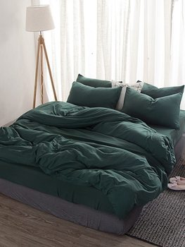 3/4Pcs Duvet Cover Set Simple Style Green Skin-friendly Washed Cotton Soft Bedding Set