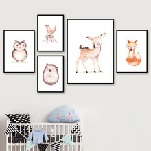 Fox Deer Owl Bird Hedgehog Nursery Wall Art Canvas Painting Nordic Posters And Prints Animal Pictures Baby Kids Room Decor