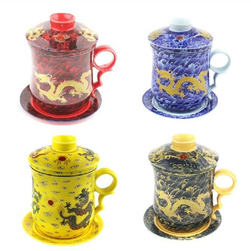 필터와 함께 새로운 350CC 드래곤 세라믹 차 컵 머그잔 중국 쿵푸 커피 우유 마크 파란색과 흰색 Drinkware 친구 선물
