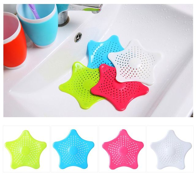 1Pc Star Sewer Outfall Strainer Bathroom Sink Filter Anti-blocking Floor Drain Hair Stopper & Catcher Kitchen Bathroom Accessory 5