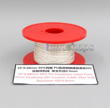 LN006224 10*0.08mm 99% Pure Silver Earphone Headphone DIY Custom PU Insulation Layer Cable Diameter OD:0.9mm For acrolink cable