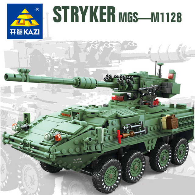 купить KAZI 10001 Century Military Technic weapon MGS-M1128 TANKS Building blocks set Armored vehicles DIY Bricks Toys for Children онлайн