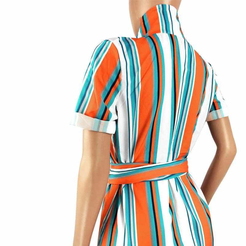 Африканская одежда Повседневная разноцветная полосатая печатная длинная рубашка макси женский отложной воротник пуговица пояс Блузка халат Boho пляж Femm