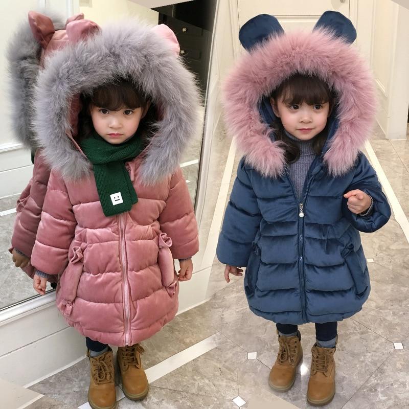Зимняя куртка для девочек; пальто для малышей; bebe; Детские Бархатные Топы; парка; длинный зимний комбинезон; пуховая одежда с хлопковой подкладкой; розовый меховой воротник; капюшон