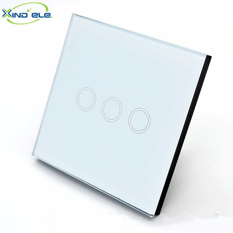 XIND ELE Tempered Glass white touch switch EU crystal glass panel light wall switch for smart home automation #XDTH03W# 2017 smart home crystal glass panel wall switch wireless remote light switch us 1 gang wall light touch switch with controller