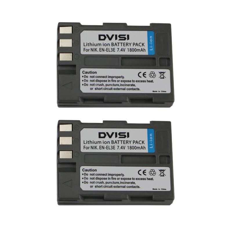 2Pcs/lot 7.4V 1.8Ah EN-EL3e EN EL3e ENEL3e Rechargeable Camera Battery for Nikon D90 D700 D300 D80 D70 D50 D200 D300s D100 D70s