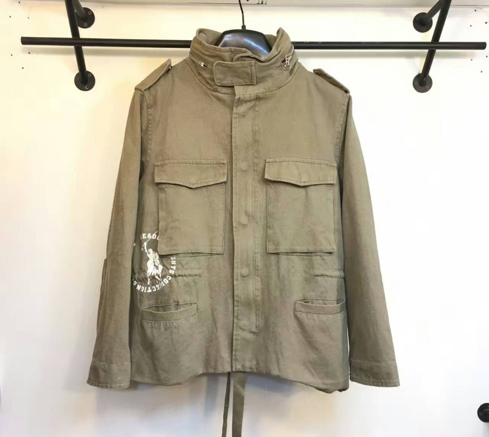 OFF-White Washed Hooded pockets military jacket outwear camp windbreaker fatigue parka
