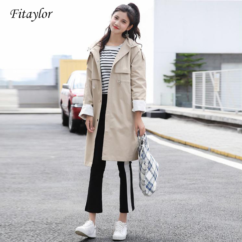 Fitaylor New Women Clothes Long   Trench   Coat Spring Autumn Female Long Sleeve Hooded Windbreaker Femme Casual Overcoat