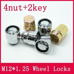Image 3 - 4 אגוזים + 2 מפתחות M12x1.25 1.25 גלגל אגוזי נעל מנעולי אבטחה נגד גניבת אגוז Fit עבור ניסן Teana Bulebird sylphy הקאשקאי LS010 06