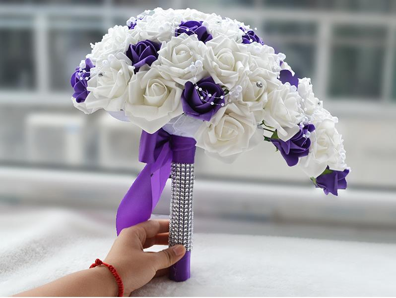 Weddings & Events Good Buque Noiva Purple White Bridal Bouquet Artificial Waterfall Flowers Bridesmaid Romantic Handmade Pe Wedding Bouquet For Bride Wedding Accessories