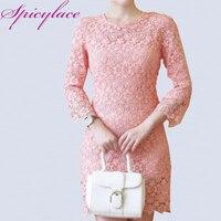 2016 Spring Elegant Women Zipper Long Sleeve Crochet Floral Lace O Neck Solid Evening Party Dress