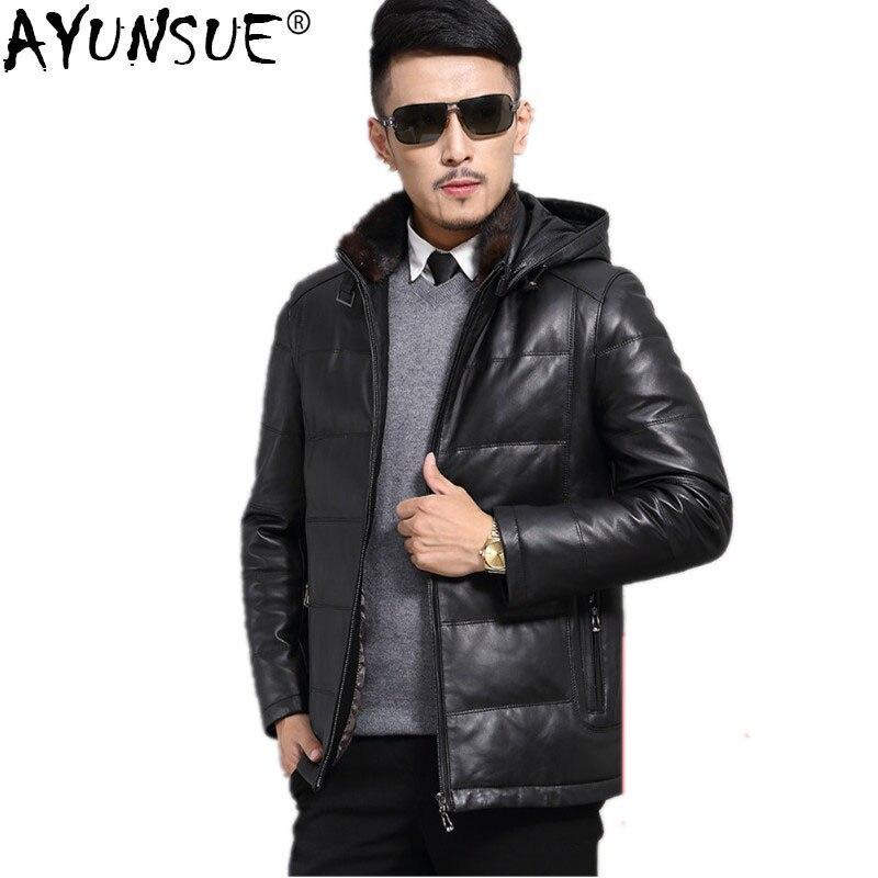 AYUNSUE Genuine Leather Jacket Sheepskin Duck Down Jacket Autumn Winter Jacket Men Plus Size Coat Chaqueta Hombre JLK15726MY1203