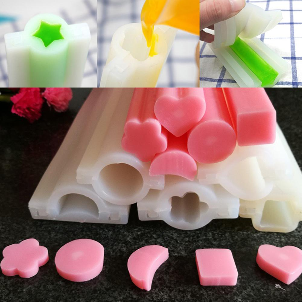 Round Heart-shaped Plum Blossom Shape Five-pointed Star DIY Handmade Silicone Soap Tube Mould Round Heart-shaped Plum Blossom Shape Five-pointed Star DIY Handmade Silicone Soap Tube Mould