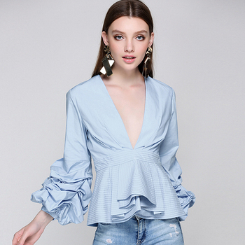 100% silk blouse women lightweight fabric striped printed plus o neck ruffles half sleeves loose casual tops new fashion 2017 Runway Puff Sleeves Blouse Deep V Neck Ruffles Hem Solid 3 Colors Tops Elegant Style New Fashion 2017