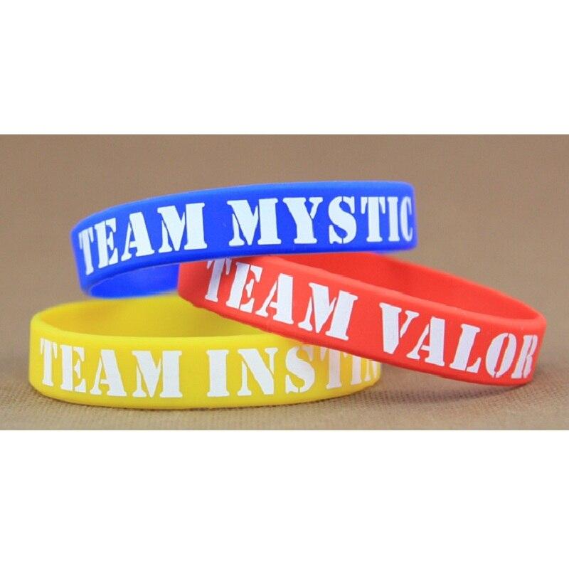 2016 Hot selling Pokemon Go team silicone bracelet  Valor Instinct Mystic wholesale Blue yellow red