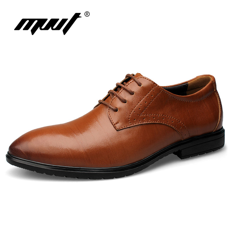 MVVT Top Men's Dress Shoes Business Men Oxfords Genuine Leather Shoes Men Lace-Up Formal Shoes Fashion Pointed Toe Footwear new 2018 fashion men dress shoes black cow leather pointed toe male oxfords business shoes lace up men formal shoes yj b0034 page 7