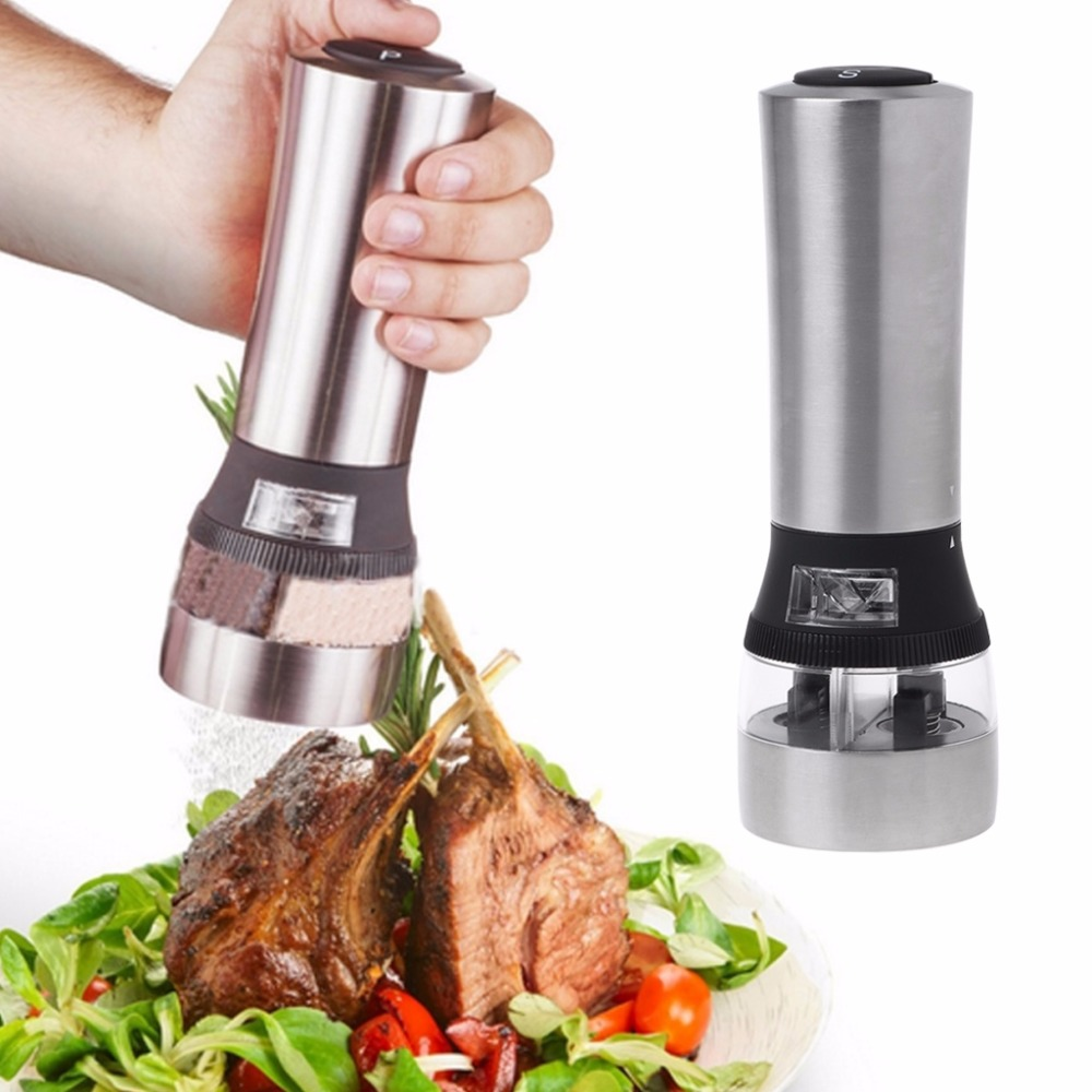 2 In 1 Electric Pepper Salt Mill Grinder Herb Seasoning Spicy Kitchen Gadget Kit