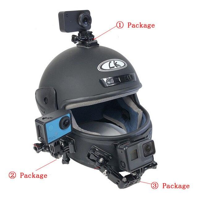 ปรับ 4 ทิศทางรถจักรยานยนต์หมวกกันน็อกสำหรับ GoPro HERO 8 7 6 5 Yi 4K SJCAM EKEN SONY DJI OSMO อุปกรณ์เสริมชุด