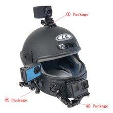 Soporte de brazo ajustable para casco de motocicleta de 4 vías, para GoPro Hero 8 7 6 5 Yi 4K SJCAM EKEN SONY DJI OSMO, juego de accesorios para Cámara de Acción