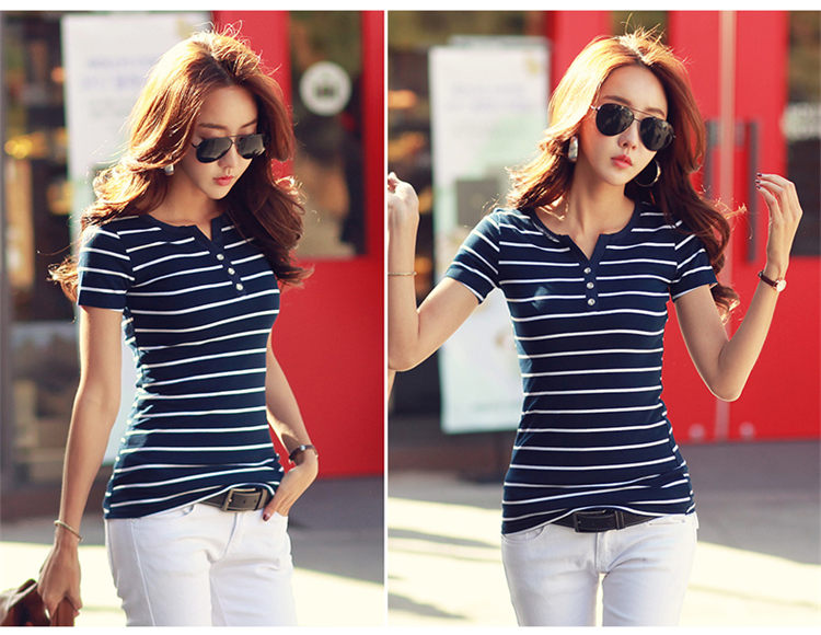 HTB1mGJcbvWG3KVjSZPcq6zkbXXae - Women T-Shirt Cotton Short Long Sleeve Lady T Shirt Striped Summer Spring Autumn Female Blusa White Plus Size Fashion Top Tee T0