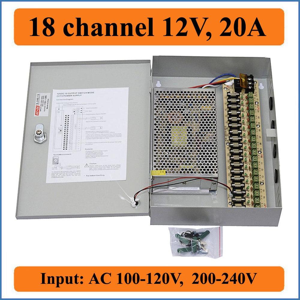 12v 10A DC 18CH Output Switch Mode CCTV Camera Power Supply Distribution Box LED