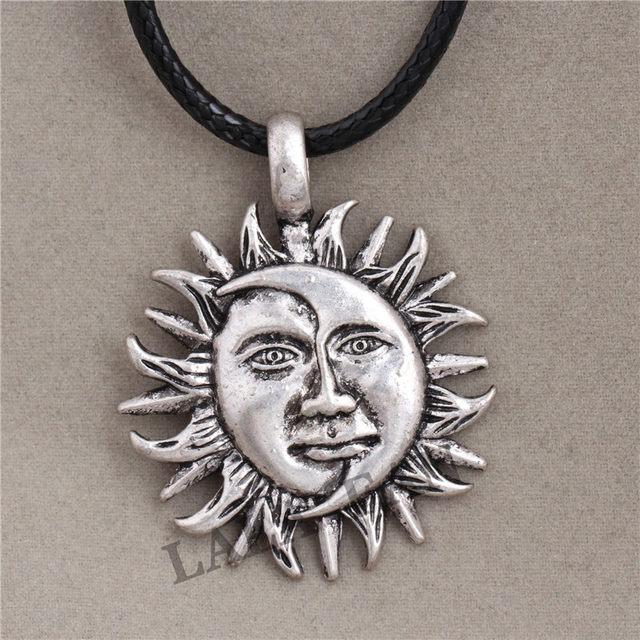 Online shop antique silver sun moon face pendant necklace xl169 antique silver sun moon face pendant necklace xl169 mozeypictures Image collections