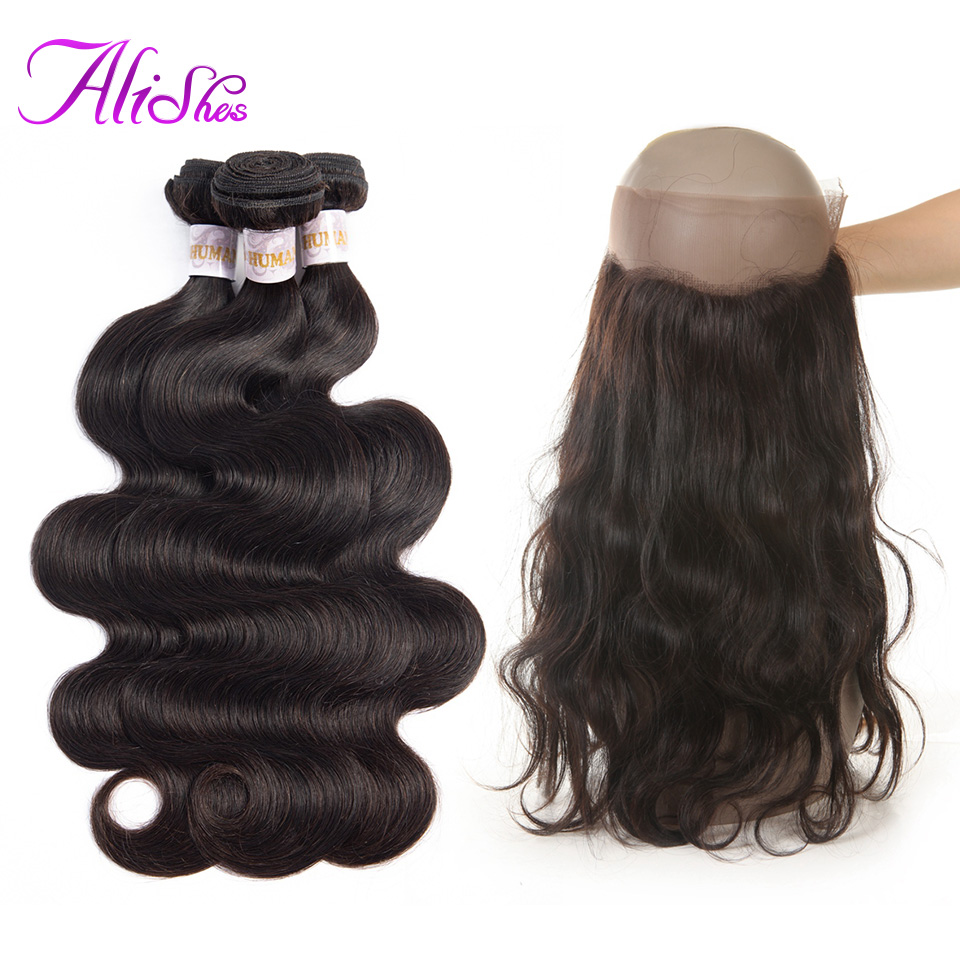 Alishes 360 Closure With Bundles Peruvian Hair Body Wave 3 Bundles With Frontal Non Remy Human