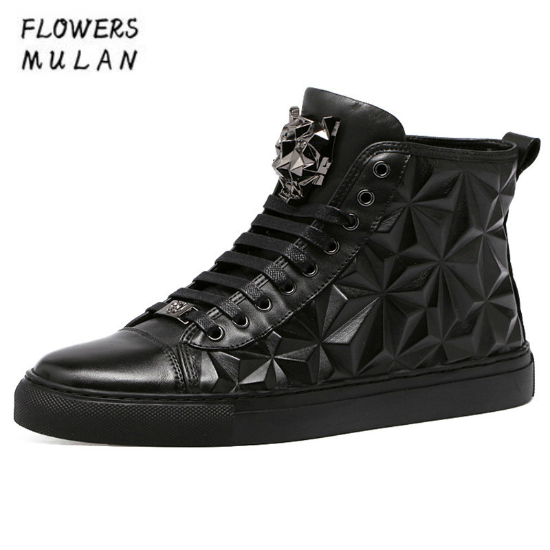 New Winter High Top Black Leather Men Casual Shoes Round Toe Flat Rubber Heel Sneakers Lace Up Metal Decoration Trainer Shoes цена