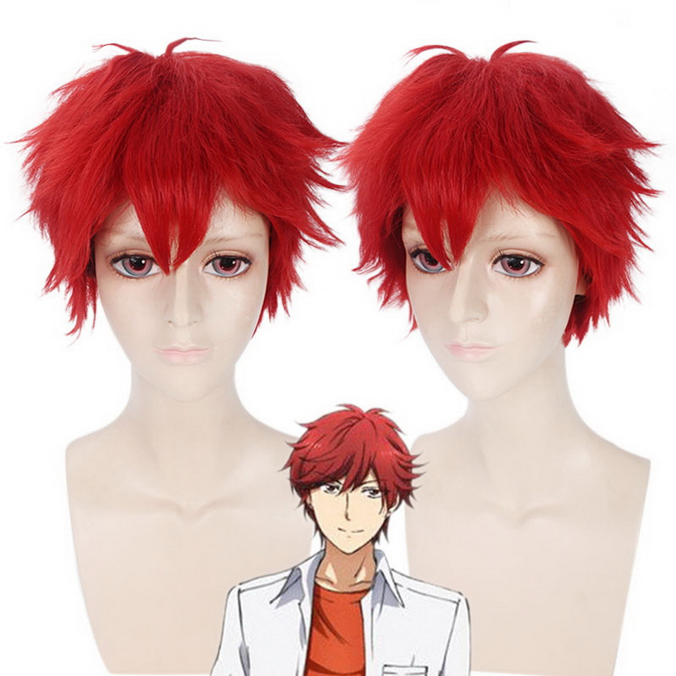 GANGAN ONLINE Cheap Fluffy Short Cosplay Wig Red Synthetic Anime Hair Mikoshiba Mikoto Halloween Costume Wigs For Men 30cm