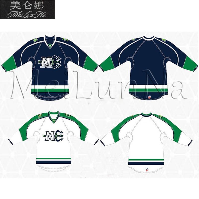 MeiLunNa Customize Maine Mariners Hockey Jerseys 19 Dawson Leedahl 35 Halverson White Navy Home Road Sewn