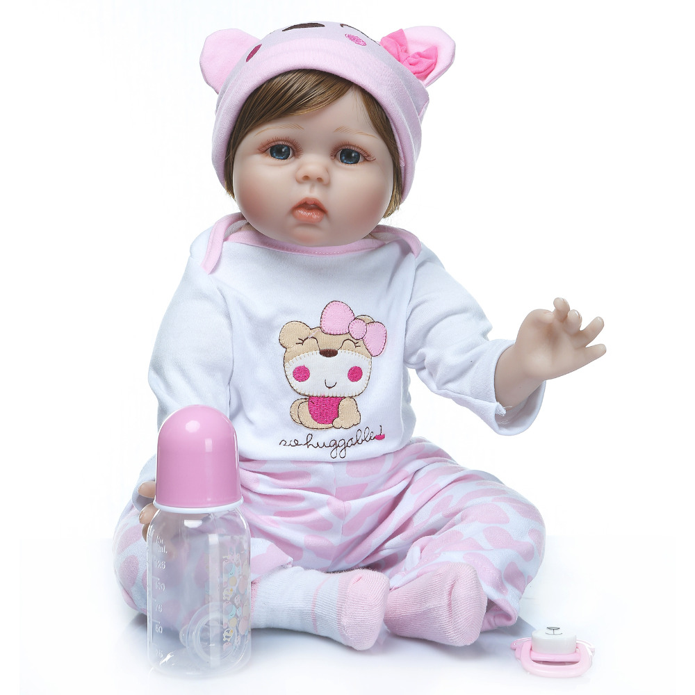 Nicery 20-22inch 50-55cm Bebe Reborn Doll Soft Silicone Boy Girl Toy Reborn Baby Doll Gift for Children Pink Hat Pink Trousers