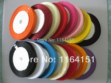 100 yards/lot Randomly mix 4 color 3/8(1cm) satin ribbon cloth tape packing belt gift wedding party deco craft bows  Accessory